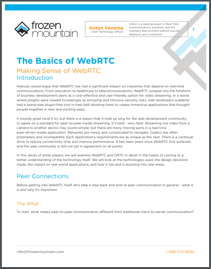 Basics of WebRTC White Papers From Frozen Mountain