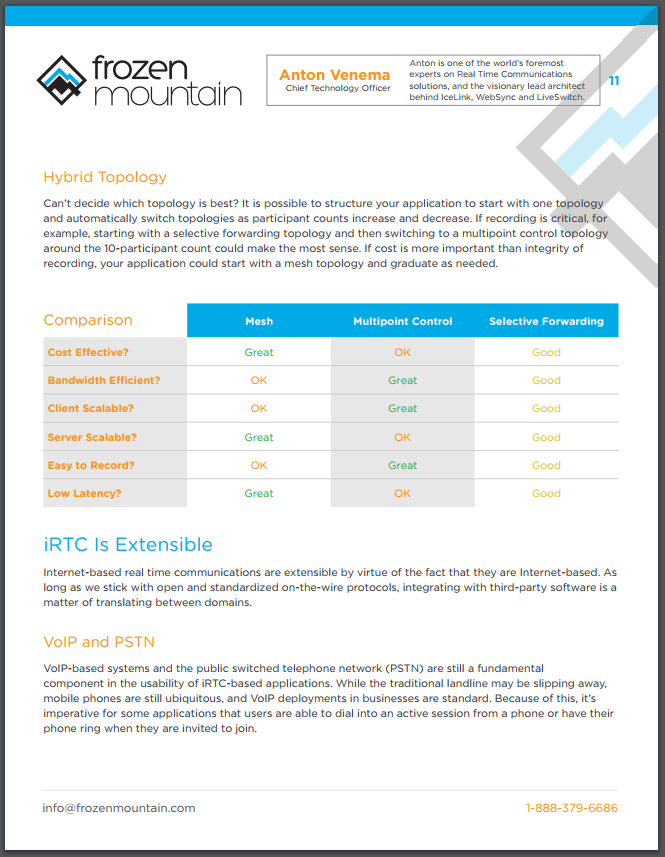 Framework for RTC White Paper From Frozen Mountain