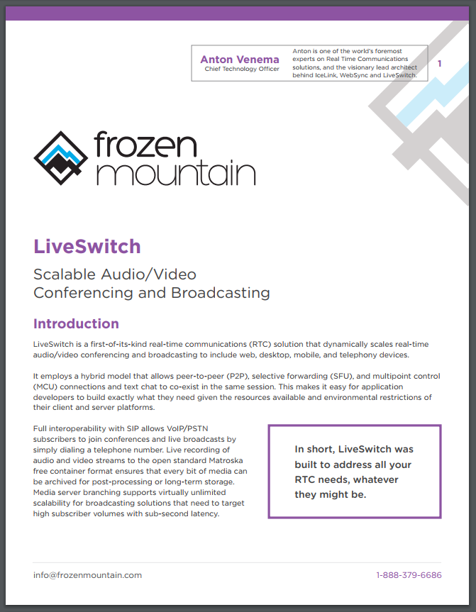 LiveSwitch White Paper From Frozen Mountain
