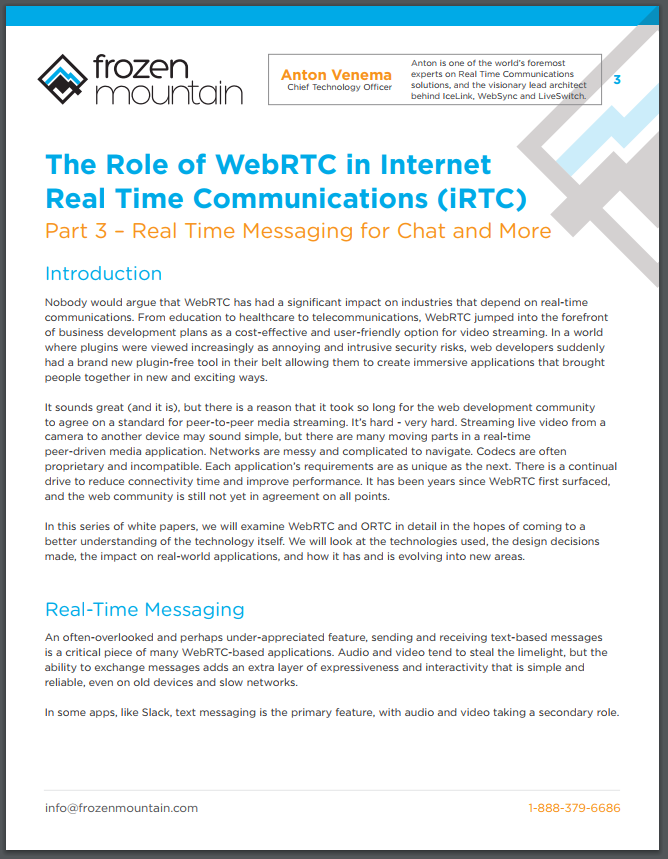 WebRTC White Papers From Frozen Mountain